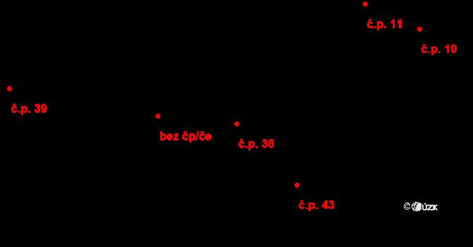 Sedlejov 36 na parcele st. 36 v KÚ Sedlejov, Katastrální mapa