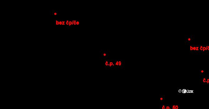 Stránka 49 na parcele st. 64 v KÚ Stránka u Mšena, Katastrální mapa