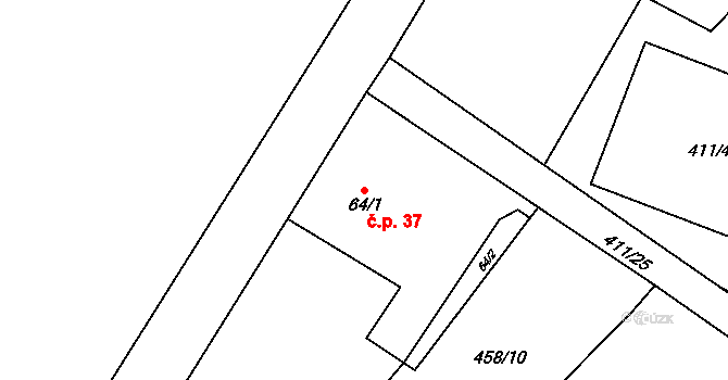 Hodonín 37 na parcele st. 64/1 v KÚ Hodonín u Kunštátu, Katastrální mapa