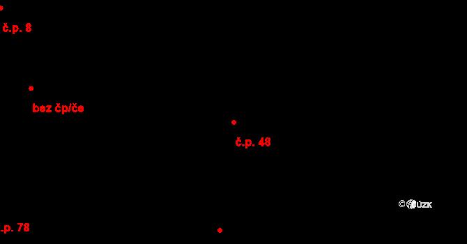 Malé Březno 48 na parcele st. 2/1 v KÚ Malé Březno, Katastrální mapa