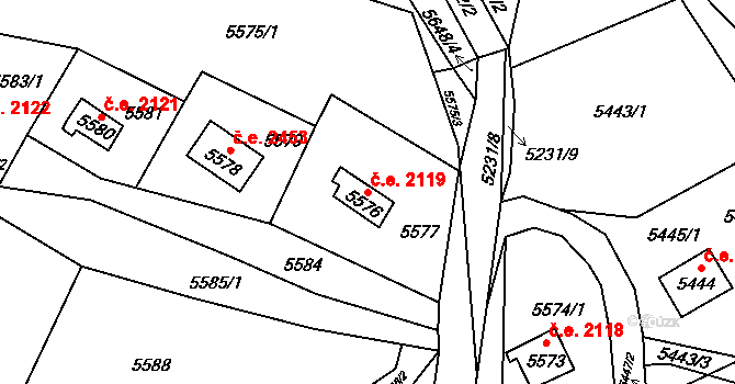 Bystrc 2119, Brno na parcele st. 5576 v KÚ Bystrc, Katastrální mapa