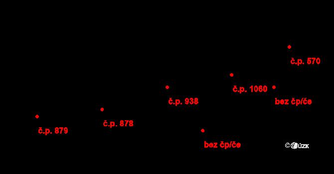 Malenovice 938, Zlín na parcele st. 1285 v KÚ Malenovice u Zlína, Katastrální mapa
