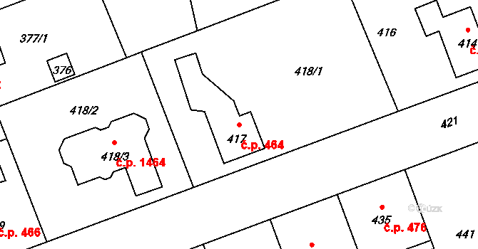 Úvaly 464 na parcele st. 417 v KÚ Úvaly u Prahy, Katastrální mapa