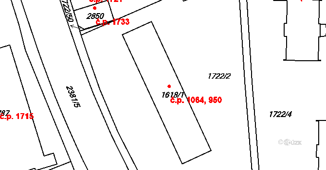 Vlašim 950 na parcele st. 1618/1 v KÚ Vlašim, Katastrální mapa