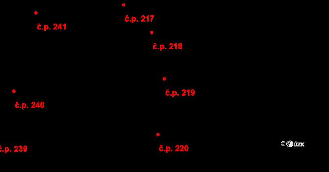 Buchlovice 219 na parcele st. 302 v KÚ Buchlovice, Katastrální mapa