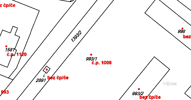 Litovel 1008 na parcele st. 993/1 v KÚ Litovel, Katastrální mapa