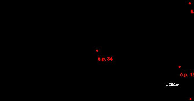 Svatý Jiří 34 na parcele st. 29 v KÚ Svatý Jiří, Katastrální mapa
