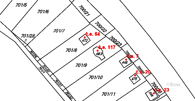 Černovír 117, Olomouc na parcele st. 663 v KÚ Černovír, Katastrální mapa