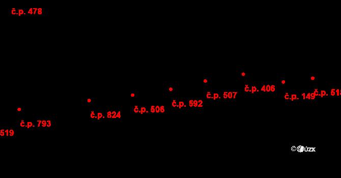 Újezd u Brna 592 na parcele st. 536 v KÚ Újezd u Brna, Katastrální mapa
