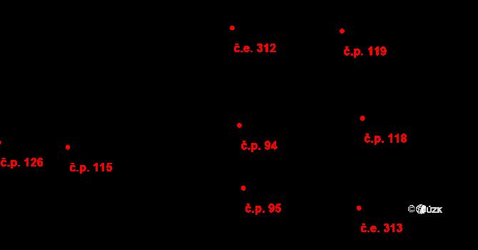Ostrá 94 na parcele st. 288 v KÚ Ostrá, Katastrální mapa