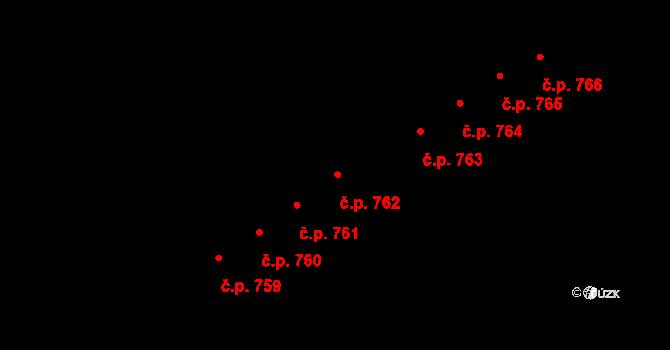 Újezd 762, Plzeň na parcele st. 1064/11 v KÚ Újezd, Katastrální mapa