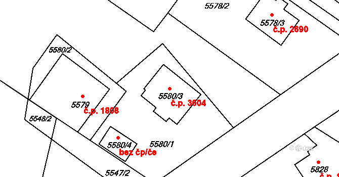 Frýdek 3604, Frýdek-Místek na parcele st. 5580/3 v KÚ Frýdek, Katastrální mapa