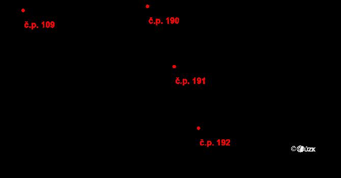 Bohušov 191 na parcele st. 123/4 v KÚ Bohušov, Katastrální mapa