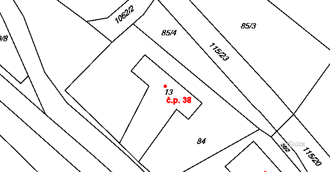 Kostelecká Lhota 38, Kostelec nad Orlicí na parcele st. 13 v KÚ Kostelecká Lhota, Katastrální mapa