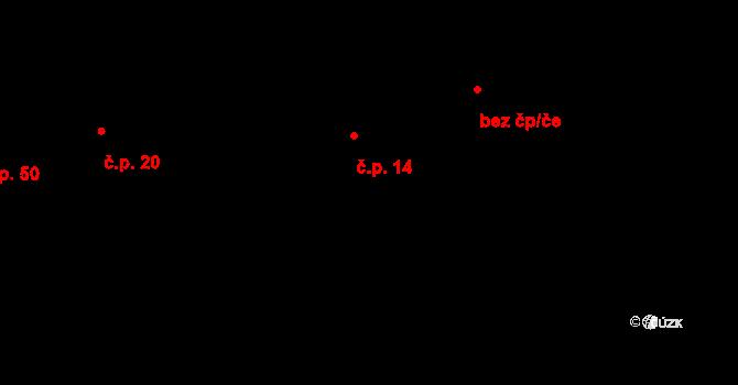 Kozašice 14, Jankovice na parcele st. 14/1 v KÚ Kozašice, Katastrální mapa