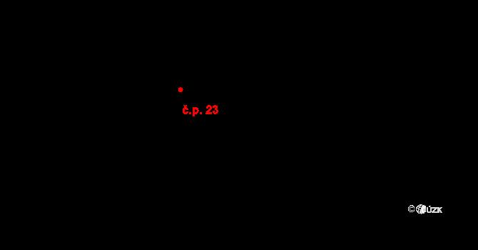 Buzice 23 na parcele st. 23 v KÚ Buzice, Katastrální mapa