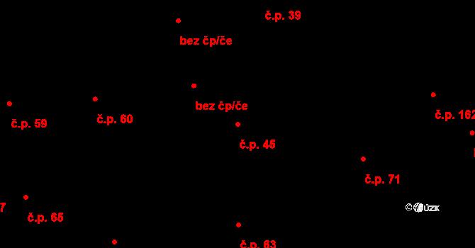 Březhrad 45, Hradec Králové na parcele st. 48 v KÚ Březhrad, Katastrální mapa
