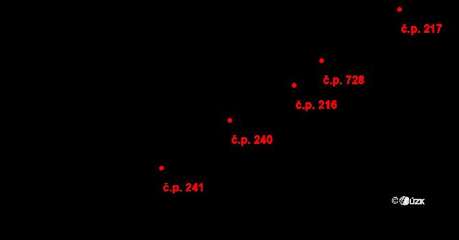 Kudlov 240, Zlín na parcele st. 406 v KÚ Kudlov, Katastrální mapa