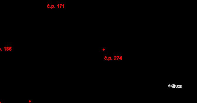Davle 274 na parcele st. 897 v KÚ Davle, Katastrální mapa