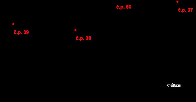 Dlouhá Lhota 38 na parcele st. 7 v KÚ Dlouhá Lhota u Dobříše, Katastrální mapa