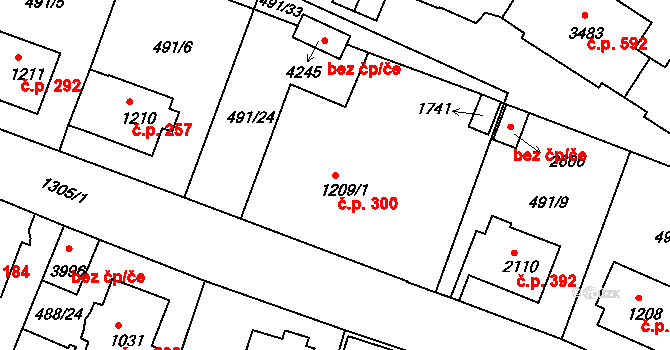 Horní Brána 300, Český Krumlov na parcele st. 1209/1 v KÚ Český Krumlov, Katastrální mapa