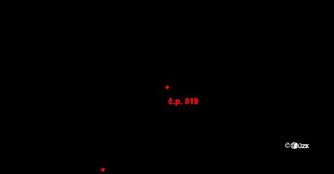 Staré Křečany 519 na parcele st. 828 v KÚ Staré Křečany, Katastrální mapa