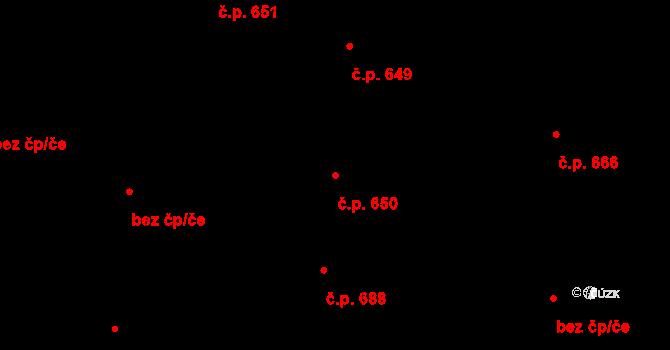 Hradec Králové 650 na parcele st. 738 v KÚ Hradec Králové, Katastrální mapa