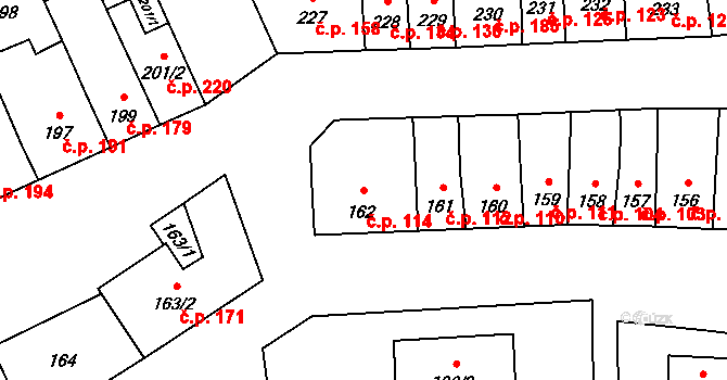 Měrovice nad Hanou 114 na parcele st. 162 v KÚ Měrovice nad Hanou, Katastrální mapa