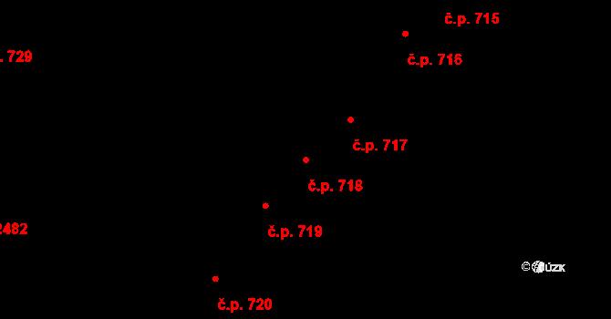 Roudnice nad Labem 718 na parcele st. 2019 v KÚ Roudnice nad Labem, Katastrální mapa