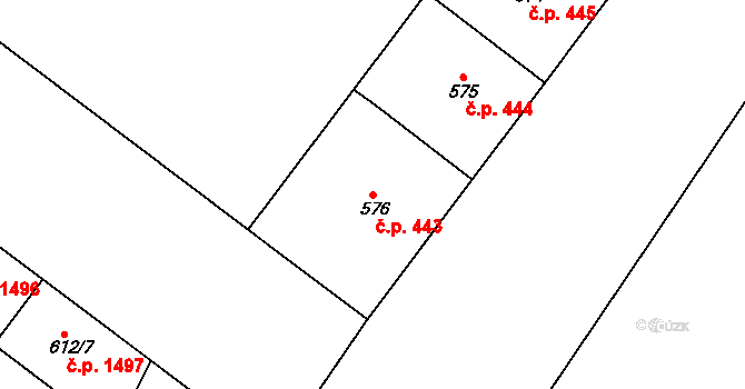 Holešovice 443, Praha na parcele st. 576 v KÚ Holešovice, Katastrální mapa