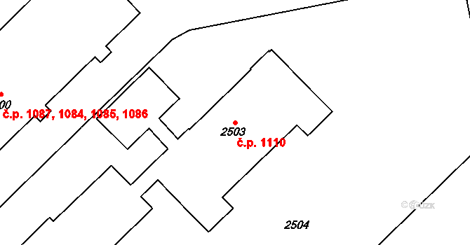 Kobylisy 1110, Praha na parcele st. 2503 v KÚ Kobylisy, Katastrální mapa