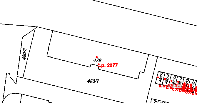 Ústí nad Labem-centrum 2077, Ústí nad Labem na parcele st. 479 v KÚ Ústí nad Labem, Katastrální mapa