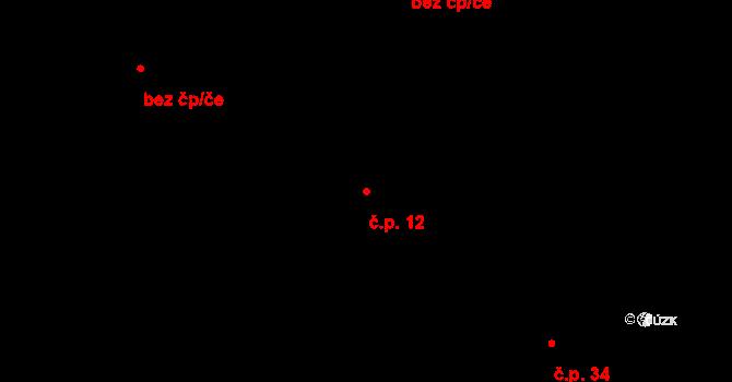 Bratronice 12 na parcele st. 14 v KÚ Bratronice, Katastrální mapa