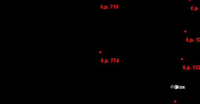 Holešovice 774, Praha na parcele st. 810/5 v KÚ Holešovice, Katastrální mapa
