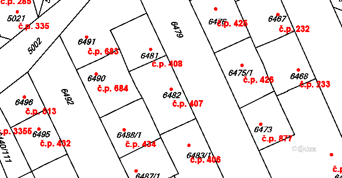 Kladno 407 na parcele st. 6482 v KÚ Kladno, Katastrální mapa