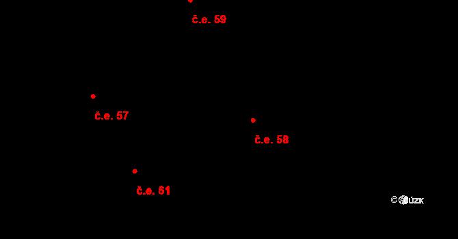 Děhylov 58 na parcele st. 281/2 v KÚ Děhylov, Katastrální mapa