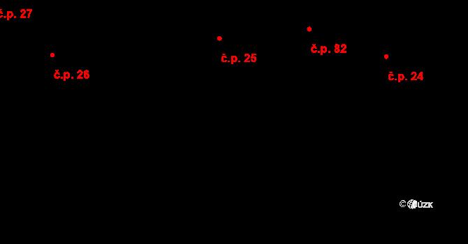 Buzice 25 na parcele st. 25/1 v KÚ Buzice, Katastrální mapa