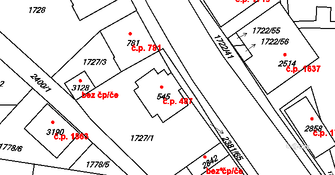 Vlašim 487 na parcele st. 545 v KÚ Vlašim, Katastrální mapa