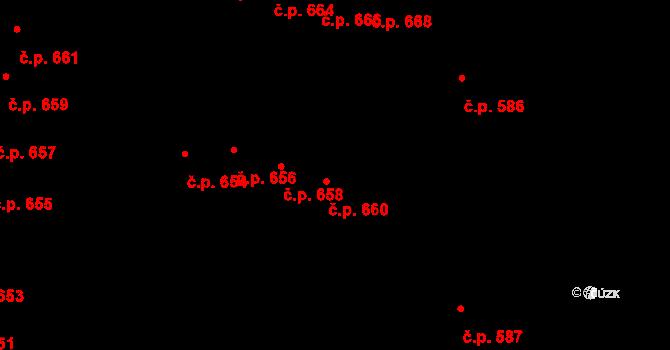 Nová Bělá 660, Ostrava na parcele st. 1654/112 v KÚ Nová Bělá, Katastrální mapa