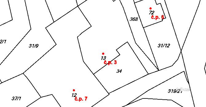 Radíkovice 3 na parcele st. 13 v KÚ Radíkovice, Katastrální mapa