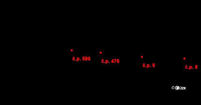 Buchlovice 476 na parcele st. 591 v KÚ Buchlovice, Katastrální mapa