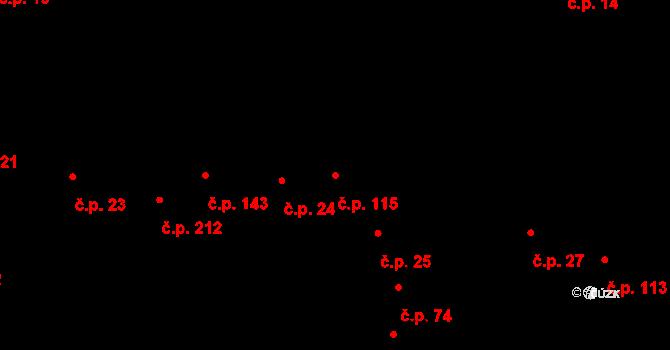 Měrovice nad Hanou 115 na parcele st. 33 v KÚ Měrovice nad Hanou, Katastrální mapa