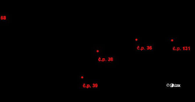 Chodská Lhota 38 na parcele st. 20 v KÚ Chodská Lhota, Katastrální mapa