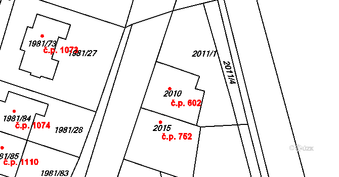 Nivnice 602 na parcele st. 2010 v KÚ Nivnice, Katastrální mapa