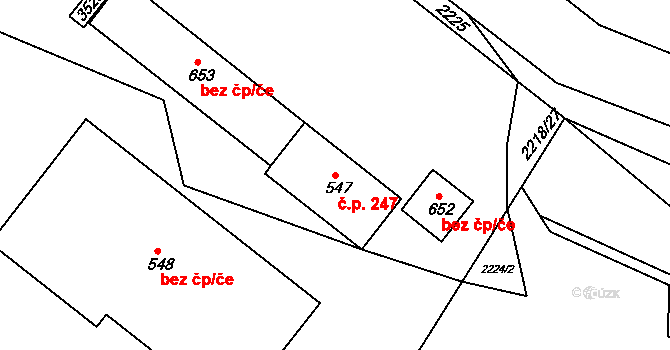 Lužná 247 na parcele st. 547 v KÚ Lužná u Vsetína, Katastrální mapa