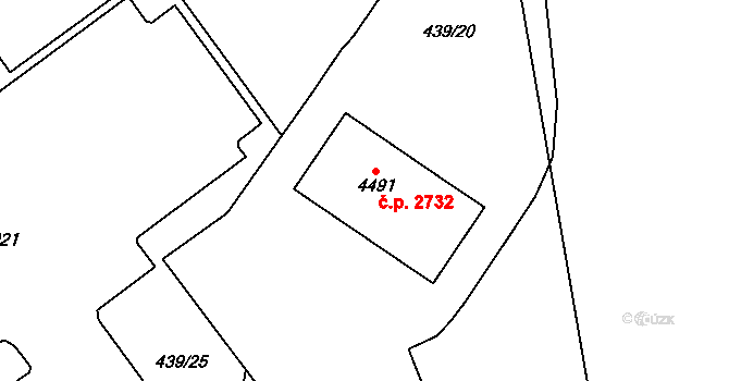 Aš 2732 na parcele st. 4491 v KÚ Aš, Katastrální mapa