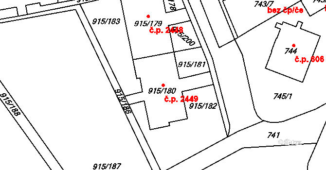 Nové Město 2449, Karviná na parcele st. 915/180 v KÚ Karviná-město, Katastrální mapa
