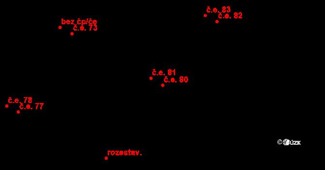 Malé Březno 80 na parcele st. 268/5 v KÚ Malé Březno, Katastrální mapa