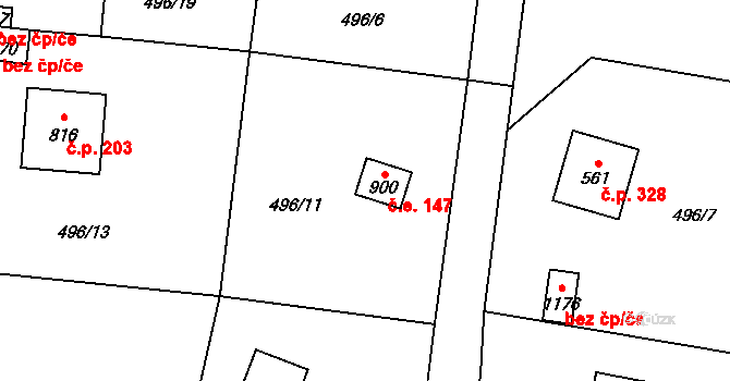 Davle 147 na parcele st. 900 v KÚ Davle, Katastrální mapa