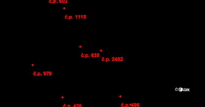 Chodov 2402, Praha na parcele st. 1672 v KÚ Chodov, Katastrální mapa